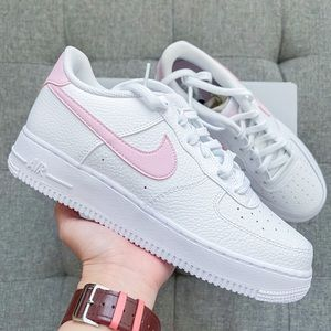 🌸 Nike Air Force 1 white pastel pink shoes